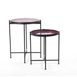 FAVORIT' - set 2 trays on stand - steel - DIA 38/44 x H 48/60 cm - purple