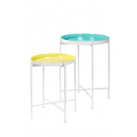 FAVORIT' - Set 2 dienbladen op stand - ijzer/geëmailleerd -turquoise/citroengeel - Ø44x60 + S Ø38x48cm
