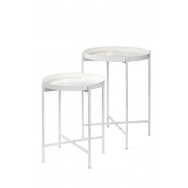 FAVORIT' - Set 2 dienbladen op stand - ijzer/geëmailleerd -wit - Ø44x60 + S Ø38x48cm