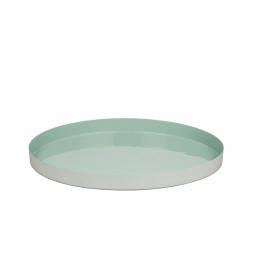 FAVORIT' - Tray -iron/enamel - ice green -Ø38cm