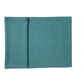 ORIGINE - tafelloper - 100% katoen / 300 gsm - turquoise - stone washed - 40X140 cm