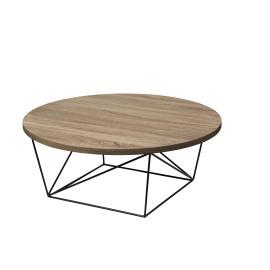 PACO - salontafel - metaal/eik fineer - Ø90x35 cm