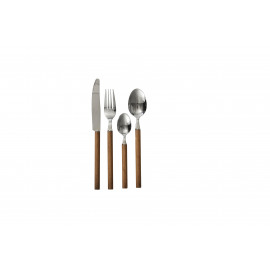 NATURE - bestek set 24 pcs - inox 18/0 - kunsthars - hout naturel