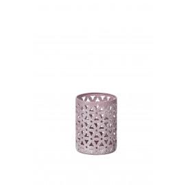 CLAUSTRA - lantern w/flower - metal - S - washed light pink -  Ø7,5X10cm