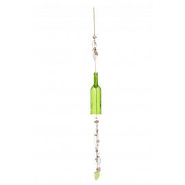 IBIZA - hangende deco fles - glas/touw -muntgroen -Ø7,5x118cm