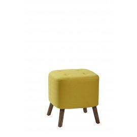 KENNEDY - poef - eik/textiel - citroen geel - 38x38x40 cm