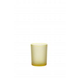 ZELLIGE - Windlicht - gezandstraald glas -M -geel-Ø10x12,5cm