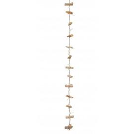 WOOD 'N LIGHT - Kerstslinger - hout/16 LED lampjes - warm wit -3 meters