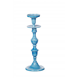 ESSAOUIRA - kandelaar - geëmailleerd aluminium - blauw - L-  H37 cm