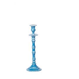 ESSAOUIRA - kandelaar - geëmailleerd aluminium - blauw - M - H32 cm