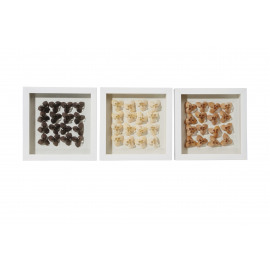 SERENITY - set 3 shadow box muurdecoratie - kunsthars - 30x30x5 cm