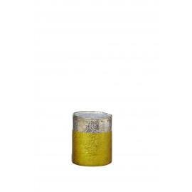 DIVALI - windlicht - glas - geel m/zilveren rand - M - DIA 11 x H 13 cm