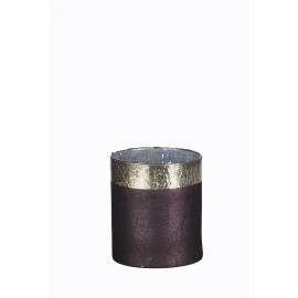 DIVALI - windlicht - glas - grijs m/zilveren rand - L - DIA 14 x H 16cm