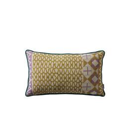HAKO -  blockprinted kussen - chambray katoen - purple/lime/teal - 30x50 cm