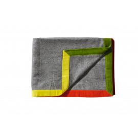 FUKUO -visgraat plaid - wol/fluweel - groen/oranje/geel/red - 140x180 cm