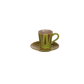 VARDA - geschenkdoos 4 p/t koffie - fijn aardewerk - olijfgroen/mastic