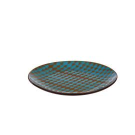 VARDA - geschenkdoos 4 dessert borden - fijn aardewerk - turkoois/volcan - Ø21,5 cm