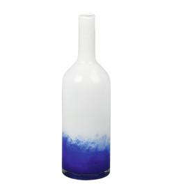 GRAPH - decoratieve fles - glas - wit/marine - L -  Ø13x43 cm