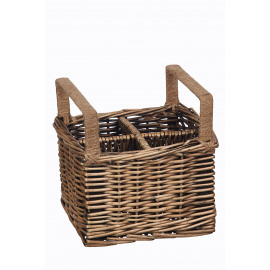 PRIMITIF  - cutlery basket 4 parts  - willow/metal - black wash - 19x19x12 cm