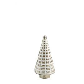 SKOV - Xmas boom - glas - wit over zilver - M -  Ø15x33 cm