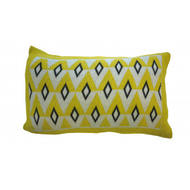 PADDY - knitted cushion - 100% cotton - yellow/grey/white - 30x50cm