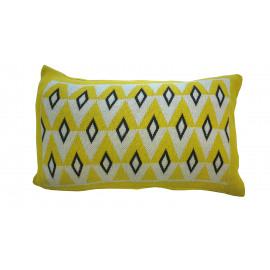 PADDY - coussin maille - 100% coton - jaune/gris/blanc - 30x50 cm