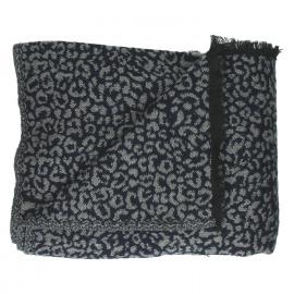 JUNGLE CHIC - plaid leopard - coton/acrylique - navy - 125x150 cm