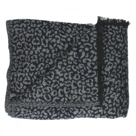 JUNGLE CHIC - plaid met leopard patroon - katoen/acrylic - navy - 125x150 cm
