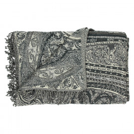 MAHARAJA - plaid met paisley patroon - 90% katoen 10% wol - navy - 130x170 cm