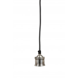 ONE - Hanging lamp 1L - metal/fabrics - E27/40W -  silver antique - Ø7,5x150 cm