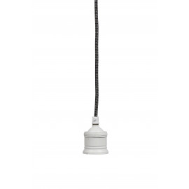 ONE - Hanglamp 1L - metaal/stof - E27/40W - mat wit - Ø7,5x150 cm