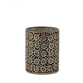 ELLA - Photophore fleurs - verre/mosaïque - silver brun - TGM - Ø16x21 cm
