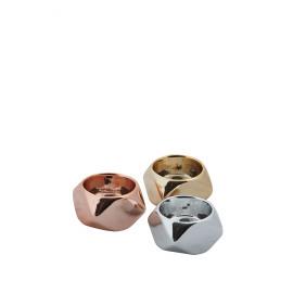 CLUBIC - set 3 ass.kandelaars - metaal - zilver/goud/koper - Ø5,5x3,5 cm