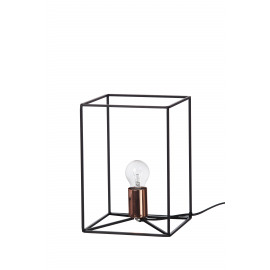 STRUCTURA - tafellamp cube shape - metaal - zwart - 20x20x28cm
