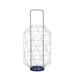 ESPACE - lantern - metal/glass - jeans blue - 23,5x23,5x50cm