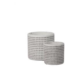 BETON SCENIC - set van 2 bloempotten - beton - 10,5/13 x 10,5/13,7 x 10,5/12,8