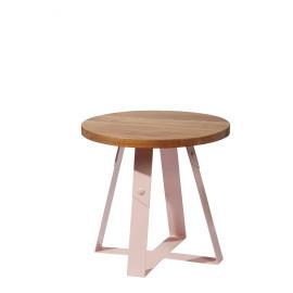 RACA - bijzettafel - hout/metaal - lichtroze - 48x48x45cm