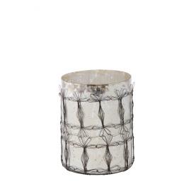 MALI - t-light - glas - zilver/zwart - XL - 21x16cm