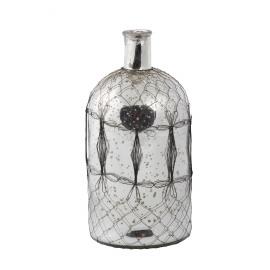 MALI - fles - glas - zilver/zwart - L - 33x16cm