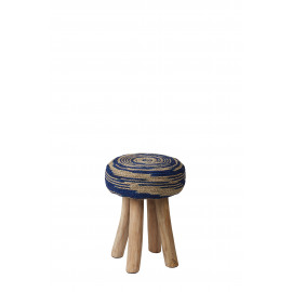 TOURBILLON - stool - teak - natural/ blue - Ø34x45cm