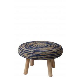 TOURBILLON - koffietafel - teak - naturel/blauw - Ø70x45cm