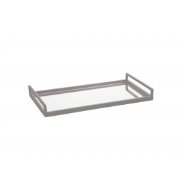 BEXLEY - rectangular tray - steel/ mirror - white - S - 41x20x5,5cm