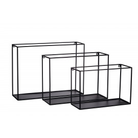 FIGURE - Set/3 wall rack - iron - L 29,5/34,5/40 x W 20/25/30 x H 12/12/12 cm