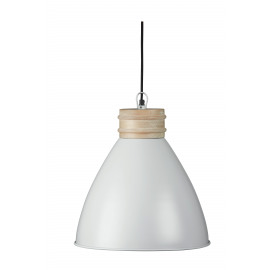 BETTY - hanging lamp - metal/ wood - white - Ø38x40cm