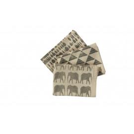 CORNAC - gift box - set van 3 vaatdoeken - katoen stone washed - charcoal - 50 x 70 cm