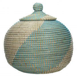 EGEE - jar w/lid - seagrass - white/ turquoise - Ø39x41cm
