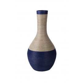 EGÉE- deco fles - zeegras - wit/ navy - Ø43x90cm