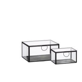 FORMS - set van 2 juwelendoosjes - metaal/ glas  - 15x11,5x8,5cm + 21x16,5x10,5cm