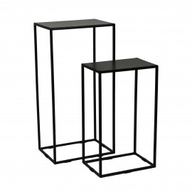 NEW SIMPLE - set/2 stands - iron / iron - L 35/40 x W 24/27 x H 60/80 cm - black