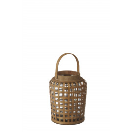 ANGKOR - lantaarn - bamboe / glas - DIA 19 x H 27 cm